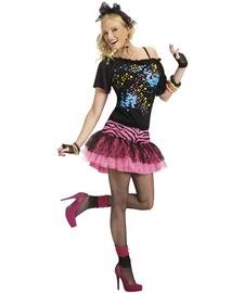 [80s Pop Party Womens Costume, Small/Medium, Black/pink] (80s Rock Costumes)