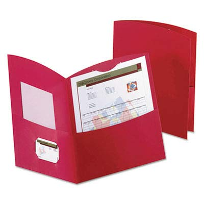 Esselte Contour Two Pocket Folder - Letter - 8.50quot; Width x 11quot; Length Sheet Size - 150 Sheet Capacity - 2 Pockets - Embossed Paper - Red - 25 / Box