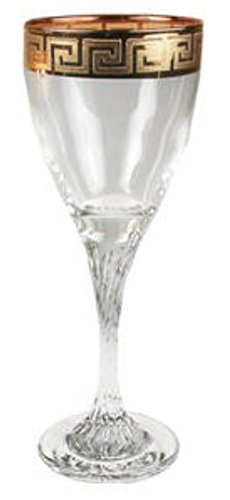 Middle Eastern Classic Gold Rim Trim Design Wine Glass Twist 6-Piece Set 6-oz ()