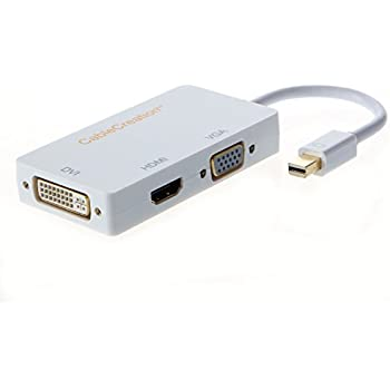 RGBS 3 in 1 Thunderbolt Port Mini Displayport To HDMI DVI VGA Display Port Converter Adapter Cable for Apple Mac Macbook Pro Air iMac Microsoft Surface Pro