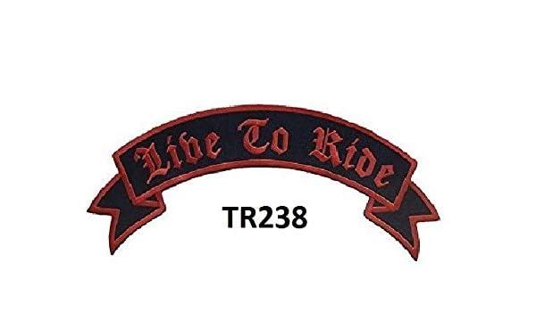Ride to Live Bottom Rocker Red on Black For Biker Motorcycle Jacket vest Back