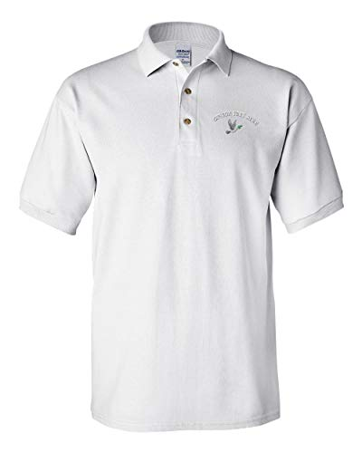 Dove Wood Print - Custom Text Embroidered Peace Dove Flying Men's Adult Button-End Spread Short Sleeve Cotton Polo Shirt Golf Shirt - White, Small