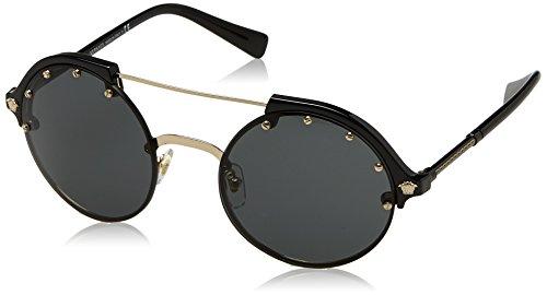 Versace Women's Studded Brow Bar Sunglasses, Black/Grey, One - 2017 Versace Sunglasses