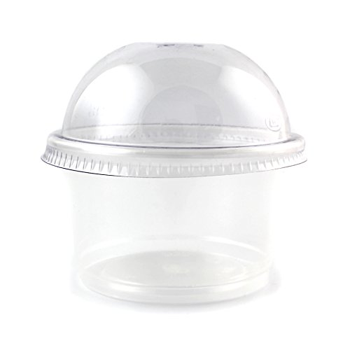 9oz Plastic Round Jello Shot Glasses Souffle Portion Cups with Dome Lid, 100 Count