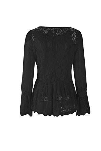 Longues Blouses T Noir Fashion Chemisiers Col Manches Automne Printemps Casual Tops Rond Dentelle Haut Shirt et Tee JackenLOVE Femmes qZ6aSUxBw