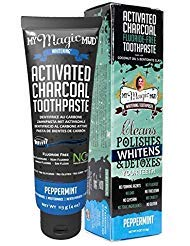 My Magic Mud Activated Charcoal Whitening Toothpaste Peppermint (Pack of 2) With Bentonite Clay, Coconut Oil, Peppermint Oil, Wintergreen Oil, Cinnamon and Clove Extract, 4 oz. Each