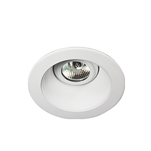 Eco Lighting NY HLV3001WH/WH 3-Inch for both Line/Low Voltage Trim Recessed Light, Adjustable Step Baffle, Baffle: White, Ring: White - Voltage Adjustable Recessed Trim
