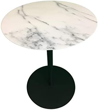 Leisure Space 18 Modern Round Side Table with Marble Finish Metal Table Top and Black Metal Frame for Living Room, Bedroom, Entryway, and Home Office End Table Accent Table Couch Table