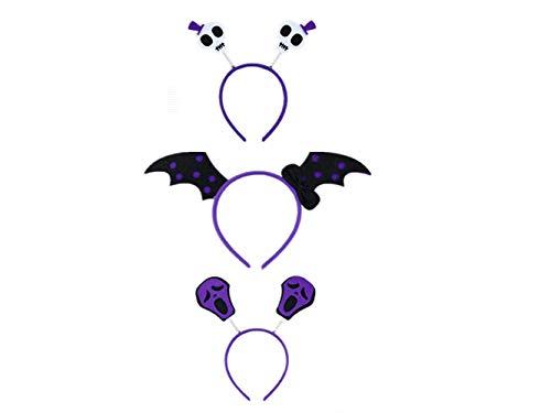 3 Pieces Halloween Cosplay Toys Headbands Pumpkin Witch Bat Headband (purple) -