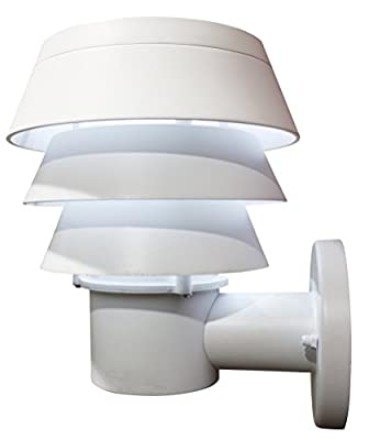 Gama Sonic Triple Tier Solar Outdoor LED Light Fixture, Wall Mount, White Finish #GS-126W