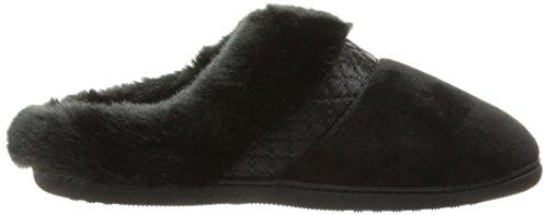 Pantofole Isotoner Da Donna Velour Diane Con Cappuccio Nero