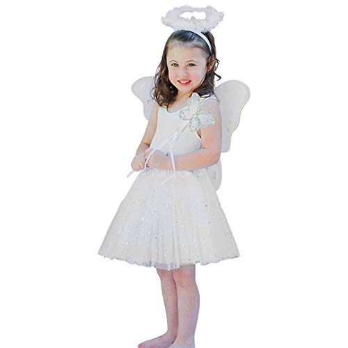 Charlies Angels Halloween Costume (Girls 4 Piece White Angel Fairy with Wings, Butterfly Wand &)