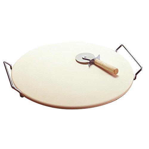 "FayShop189 Pizza Baking Stone Large Round 15"" Ceramic Bread Pan With Steel Handles Rack And Cutter Knife Set"