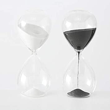 Lote De 2 Relojes De Arena Modelos Surtidos A20cm Blanconegro