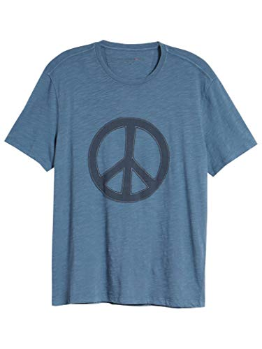 John Varvatos Men's Short Sleeve Peace Symbol Applique Crew T-Shirt Large Blue Stone