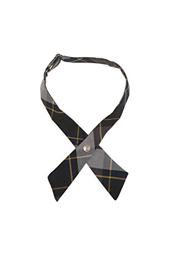 Adjustable Cross Tie - French Toast Girls' Adjustable Cross Tie Plaid, Blue/Gold Plaid, One Size
