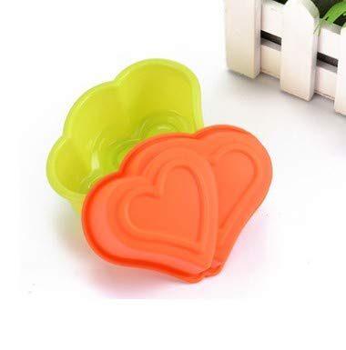 Cake Molds - 5x Love Heart Flower Cake Mold Bakeware Silicone Pudding Handmade Soap Shaped Pan - Insulating Metal Heart Removable Springform Thick Made Shapes Inserts Number That Tube Animal Jap