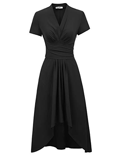 GRACE KARIN Womens Formal Ruched Ruffled Cocktail Wedding Party Long Dress(Medium,Black)