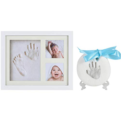 Little Ann Baby Handprint and Ornament Keepsake Kit 2in1 - DIY Photo Frame for Shower Registry Newborn Girls and Boys, Best Memorable Footprint Clay for Nursery Personalized Decoration