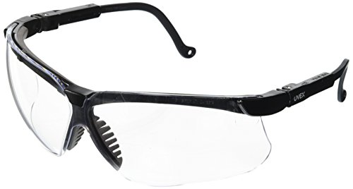 Uvex S3200 Genesis Safety Eyewear, Black Frame, Clear Ultra-Dura Hardcoat - Best Eye Frames My Face For