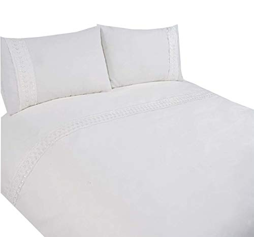 (Embroidered Lace Trim White Cotton Blend Usa Queen Size (230cm X 220cm - Uk King Size) Duvet Comforter Cover)