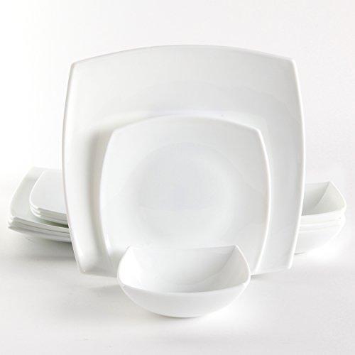 Gibson Home Bellevue Court 12 Piece Dinnerware Square Set, White ()