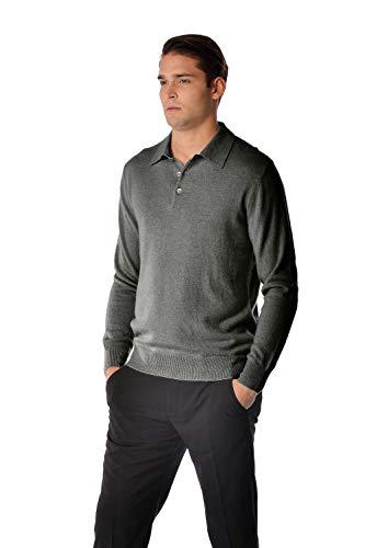 Cashmere Boutique: Men's 100% Pure Cashmere Polo Sweater (Color: Charcoal Gray, Size: Medium)
