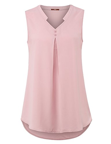 Gaharu Chiffon Blouse, Juniors Solid Color Notch V Neck Sleeveless Long Floral Summer Tunic Tank Top Pleated Cute Blouses Top for Work Dark Pink,Large (Sleeveless Blouse Pink)