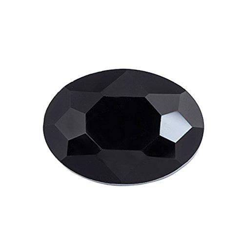 3pcs Embellishment Rhinestone, Jet Oval Foil Back Crystal ()