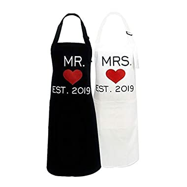 KMCH Mr. and Mrs. Aprons Couples Kitchen Aprons Funny Cooking Bibs Gifts for Wedding Newlyweds Engagement, Anniversary Bridal Shower Gift His and Hers Sets (Love Heart) …