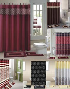 Florance Jones 15PC Shower Curtain Fabric Hooks Bath MATS Rugs Complete Bathroom Set GR2 | Style Mat-RG145302543
