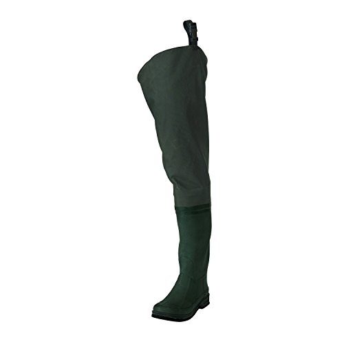 Frogg Toggs Cascades 2-ply Poly/Rubber Bootfoot Hip Wader, Cleated Outsole, Youth, Forest Green, Size 7 ()