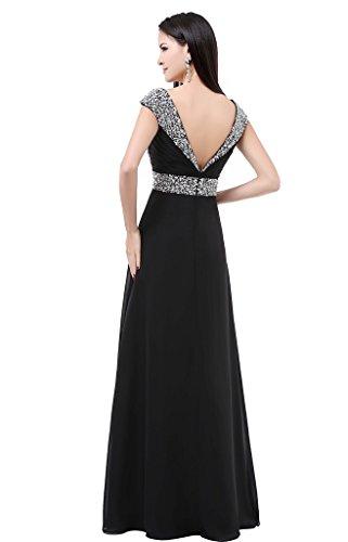 Balllily in per eventi Black lungo chiffon cerimonie da eleganti abito da sera ed donna Y4WrYZqP