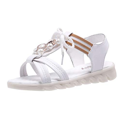 AHAYAKU Women Summer Sandals Open-Toe Elastic Band Casual Sandals Flat-Bottom Beach Shoe White
