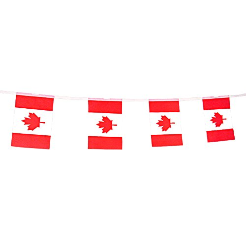 Canada Flag Banner,Canadian String Flags Pennant for Olympics,Festival,Grand Opening,Bar,Sports Clubs 66 Feet 8.2'' x 5.5'' By KalaBear