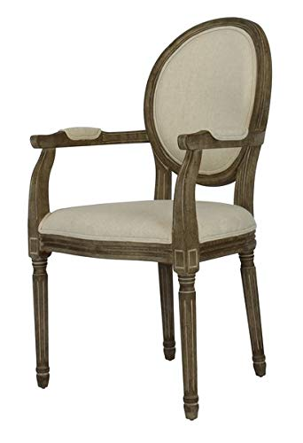c45b21733840 Fabric Dining Chair with Wood Frame and Distressed Finish - Upholstered Dining  Chair with Oval Solid