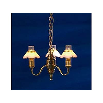 Melody Jane Dollhouse Chandelier Gold Edged Shades Miniature Electric Light 12V Lighting: Toys & Games