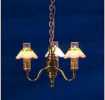 Dolls House Standard Lamp Brass with White Gold Edged Shade LED Battery Light