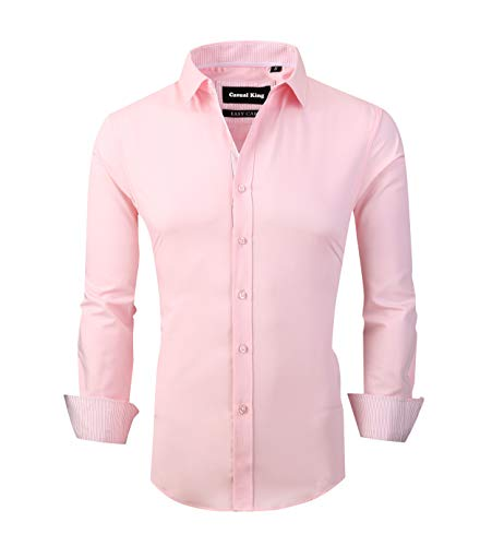 Casual King Mens Dress Shirts Wrinkle-Free Long Sleeve Slim Fit Button Down Formal Shirt(Pink, XLarge)
