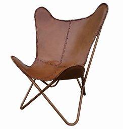 Butterfly Chair BKF Hardoy Ledersessel Schmetterlingsstuhl MIRAVEZ  U0026quot;CHELSEAu0026quot;   Hellbraun Echt Leder