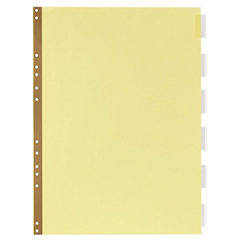 "Wilson Jones Insertable Dividers for Data Binders, 6-Tab Set, Clear Tabs, Buff Paper, 14-7/8"" x 11"" (W489-1411M)"
