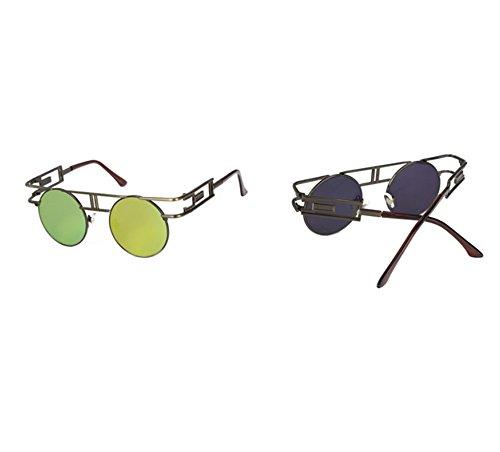 Hellomiko góticas metálicas Steampunk sol Gafas Bronce de de redondo aviador de Oro Gafas de vintage marco BAWXBqr