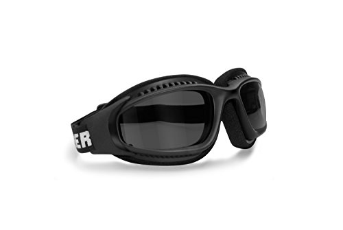 Motorcycle Goggles for Helmets w Photochromic Ventilated Antifog Lens & Adjustable Strap with Outriggers - Mat Black frame by Bertoni Italy F113 Photochromic Wraparound Windproof Motorbike Goggles