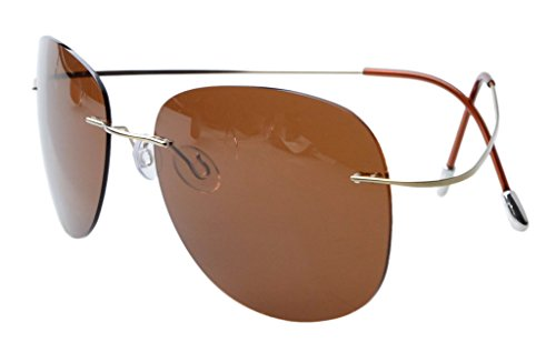 Eyekepper Rimless Titanium Frame Polarized Sunglasses Gold/Brown Lens