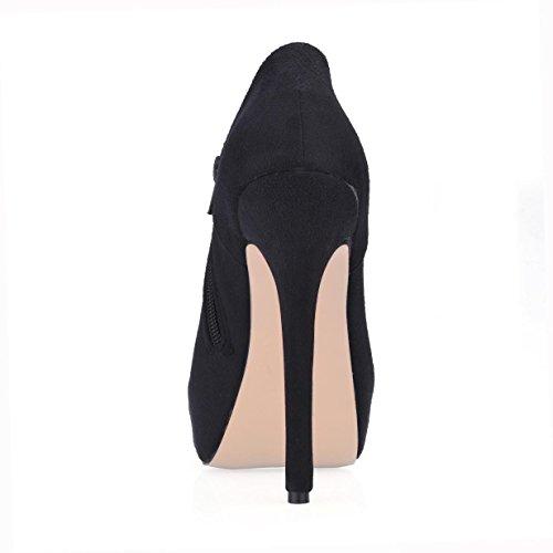 invierno 3 otoño CM CM zapatos mujer Botas tacones de goma 4U® de punta de 14 cremallera elástico de plataforma de altos aguja Best suela redonda negro terciopelo 8gSOqx