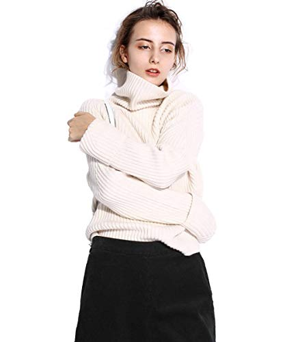 FINCATI Off White Cashmere Sweater Women Turtleneck Casual Loose Long Sleeve Ribbed Elbow Asymmetrical Notched Hem (S, White)