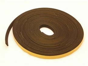 Rubber-Stuff Neoprene Rubber Self Adhesive Strip 10MM Wide X 4MM Thick X 5M Long (Black With Yellow Backing Tape)