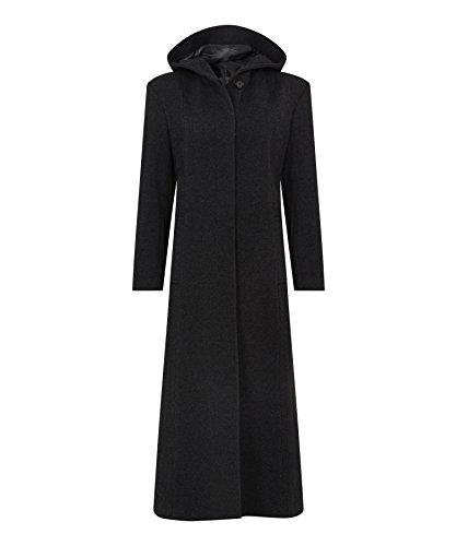 De La Creme – Black Single Breasted Detachable Fur Hood Wool Winter Trench Winter Coat Size UK 24 EUR 52 USA 20