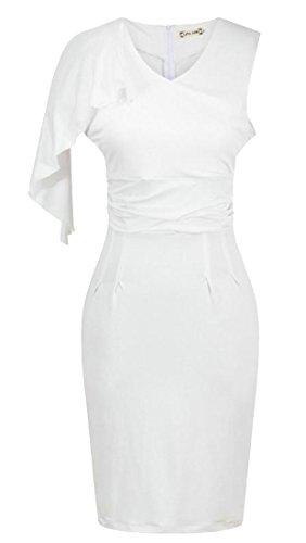 Bianco Cromoncent Maniche Usura Vestito Sera Delle Volant Elegante Bodycon Da Da Donne qZ6UxPw