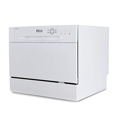DELLA Mini Compact Countertop Dishwasher 6 Place Settings Portable For Small Apartment Home Kitchen, White
